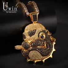 UWIN Smoking Shar Pei Dog Pendant HipHop Bling Copper Material Necklace Chain Fashion Hiphop Jewelry Multicolor