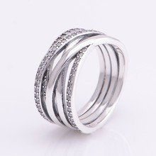 Genuine 925 Sterling Silver Jewelry Intertwine Ring For Women Fashion Silver Rings with Cubic Zirconia Authentic Gift FLR028