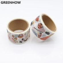 GREENHOW  Japanese Washi Tape crafts Mixed Color Pastel Patterns DIY Decorative Adhesive Set Masking Paper Tapes 9016