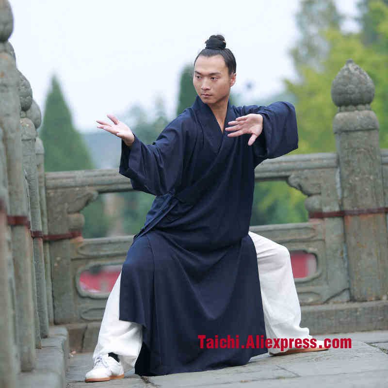 Taoist Priest Long Robe Flax Tai Chi Robe  Male Road Clothing Kung Fu Martial Art Suit  Chinese Stly