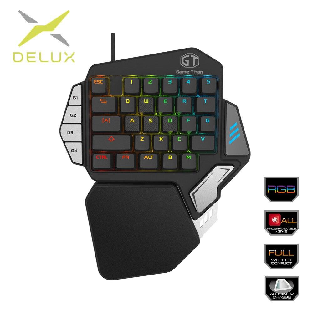 Delux Single-handed Mechanical Gaming Keypad Ergonomic All Keys rollover programmable RGB Mini keyboards for PUBG LOL E-sports