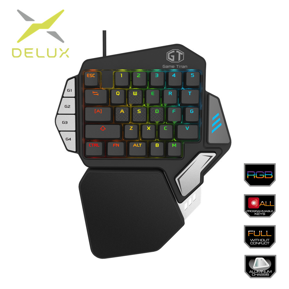46735255e88 Delux Single handed Mechanical Gaming Keypad Ergonomic All Keys rollover  programmable RGB Mini keyboards for PUBG LOL E sports-in Keyboards from  Computer ...