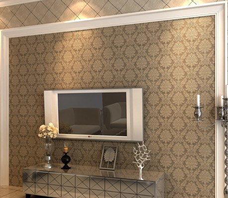 Luxury Victorian Vintage Dark Gold Damask Fabric Wallpaper Bedroom  Wallpaper Wall Covering Non Woven Brown Wallpaper W051 In Wallpapers From  Home ...