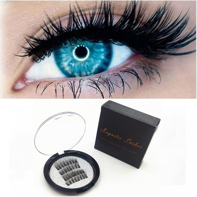 Makeup Magnetic Eyelashes with 3 Magnets Handmade 3D Magnetic Lashes Natural False Eyelashes Magnet Lashes with Gift Box