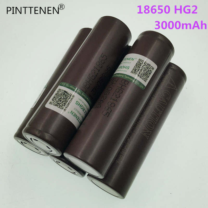 New PINTTENEN For LG HG2 18650 18650 3000mah electronic cigarette Rechargeable batteries power high discharge 30A large current