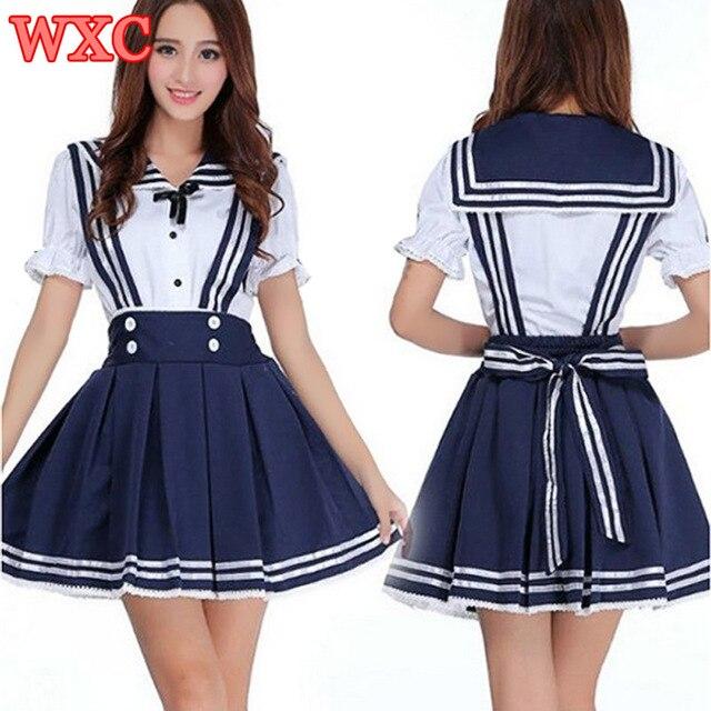 0587e018a Japanese School Uniform Cosplay Anime Maid Sailor Lolita Dress Striped Blue Japan  Kawaii Clothes Girl Costume WXC