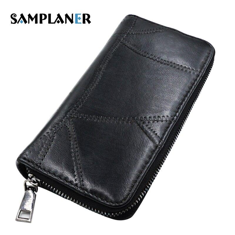 Samplaner Brand Genuine Leather Womens Wallet Long Sheepskin Wallets Female Thread Black Purse for Phone Cards Money Bag Women