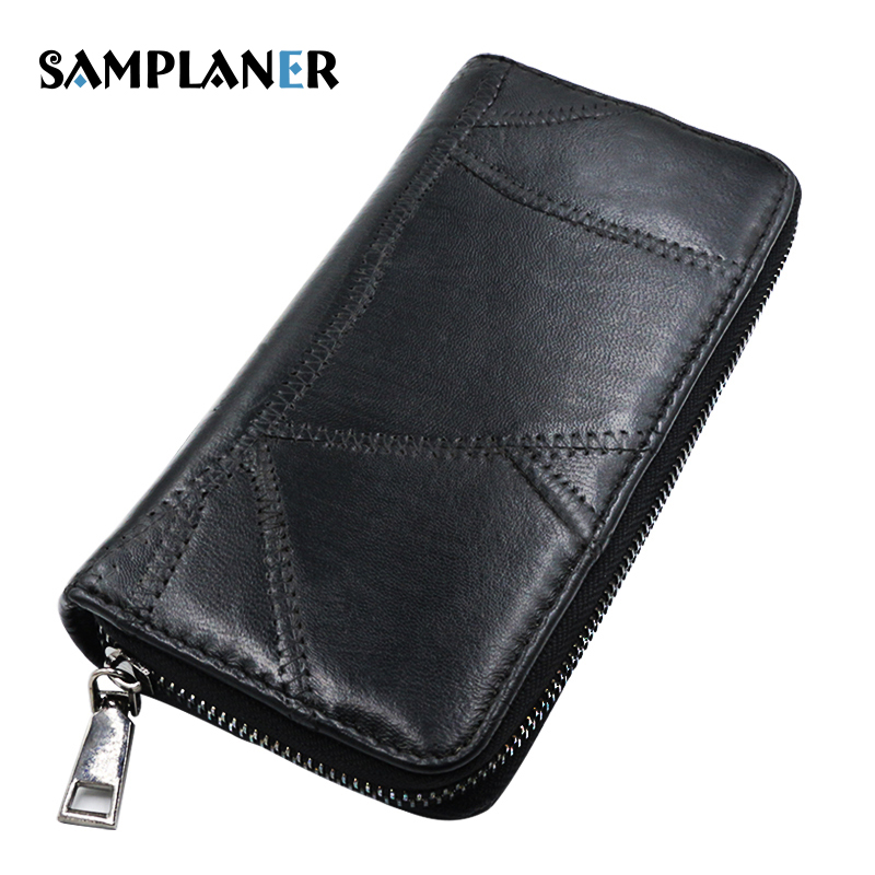 Samplaner Brand Genuine Leather Womens Wallet Long Sheepskin Wallets Female Thread Black Purse for Phone Cards