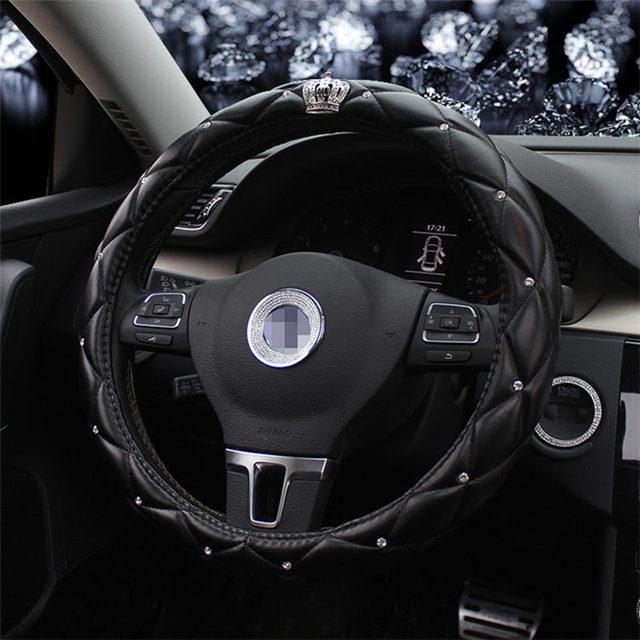 MUNIUREN Leather Steering Wheel Covers Crystal Studded Rhinestone