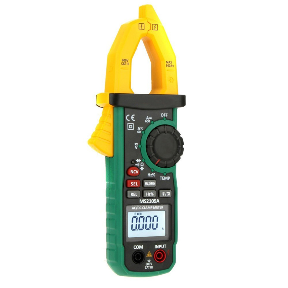 MS2109A True RMS Auto Range Digital AC DC Clamp Meter 600A Multimeter Volt Amp Ohm HZ Temp Capacitance Tester NCV Test bside acm81 acm82 mini digital clamp meter multimeter true rms auto range ac dc volt amp ohm frequency temperature ncv tester