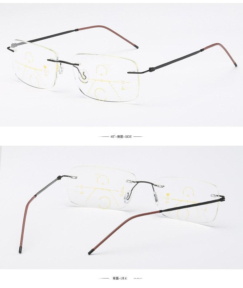 WEARKAPER Rimless Eyewear Smart zoom Titanium Progressive Reading Glasses Men Women Presbyopia Hyperopia Multifocal Glasse