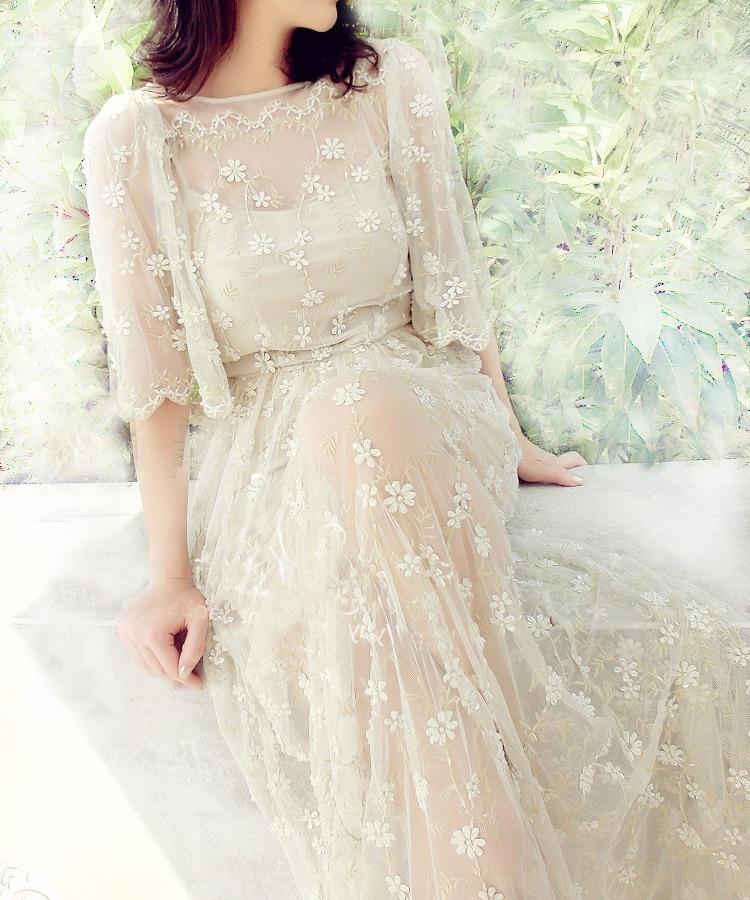 Maxi Party Kleid Sommer Marke Mode Schwere Industrie Lautsprecher Hülse Weiß Spitze Stich Perle Lange Kleider-in Kleider aus Damenbekleidung bei  Gruppe 1