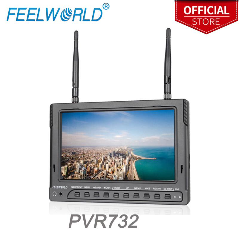 Feelworld PVR732 7 Inch IPS FPV Monitor with DVR Dual 5.8G 32CH Diversity Receiver 1024x600 LCD Wireless Monitors for UAV Drone feelworld fpv1032 10 1 wireless 5 8g 32ch drone rc rf receiver fpv monitor hdmi