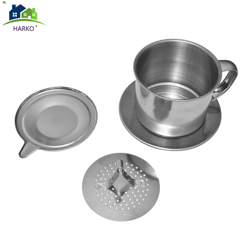 HARKO.1set Portable Stainless Steel Coffee Drip Filter Coffee Maker Infuser Vietnam Style Coffee Mug Cup Strainer Coffee Tools