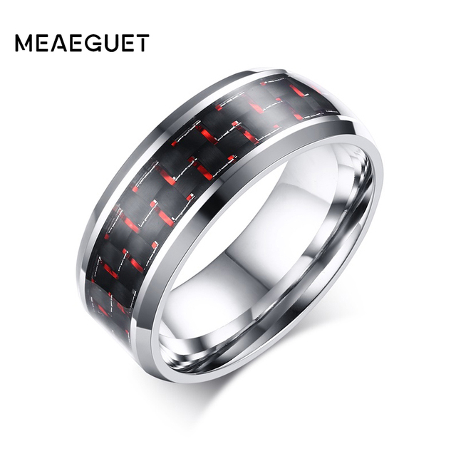 meaeguet cool rock redblue carbon fiber wedding bands for women men stainless steel rings - Carbon Fiber Wedding Rings