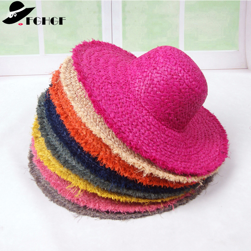 Elegant Women Floppy Raffia Straw Hat 13cm Wide Brim Summer Hat Solid Classical Sun Beach Hat Lady Race Kentucky Derby Hat