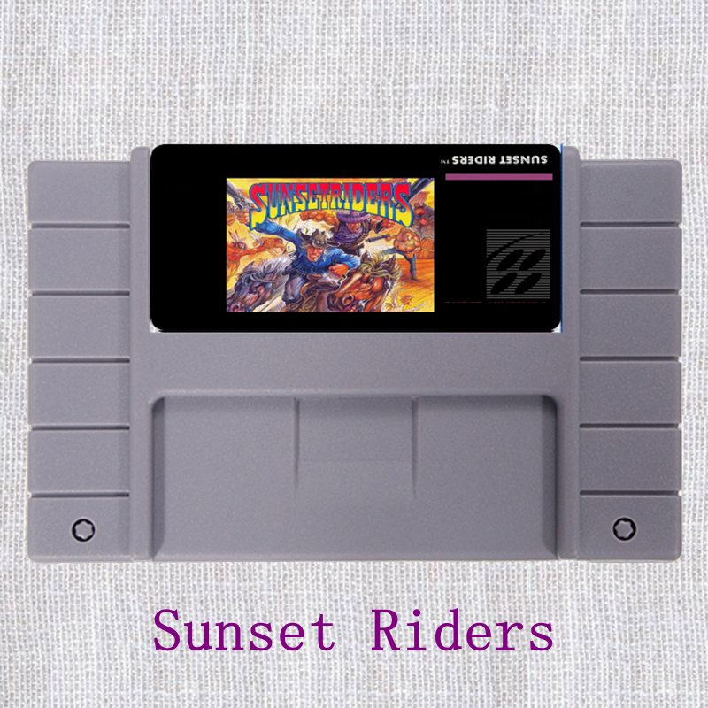 Sunset Riders 16 Bit Big Gray Game Card For NTSC Game Player