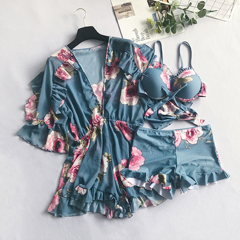 Retro blue Swim wear womens plus size swim wear Print Bankini Two Piece suit Dress Padded Bathing Suit Maio 2018 Biquin tiny floral padded bra plus size bathing suit page 9