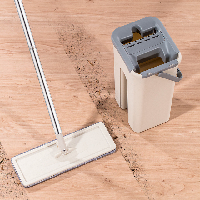 Flat Squeeze Mop Bucket with Carry Handle, No Hand Washing Lazy Mop Self Cleaning Magic Mop for Wet & Dry Safe on All Surfaces