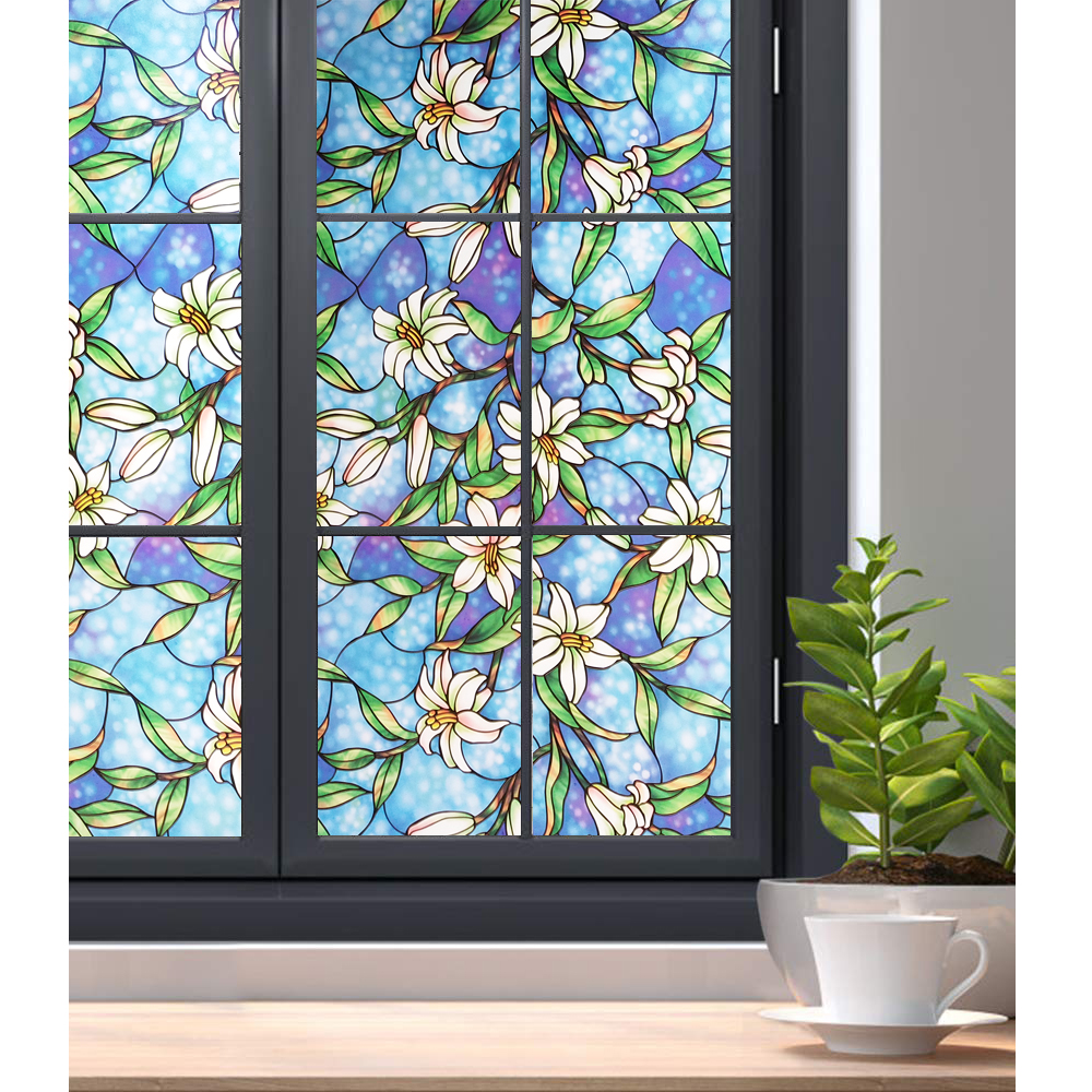 90*400 Cm Lily flowers 3D Window film,Static stained Tint,heat transfer vinyl For bathroom,Heat Control Glass stickers