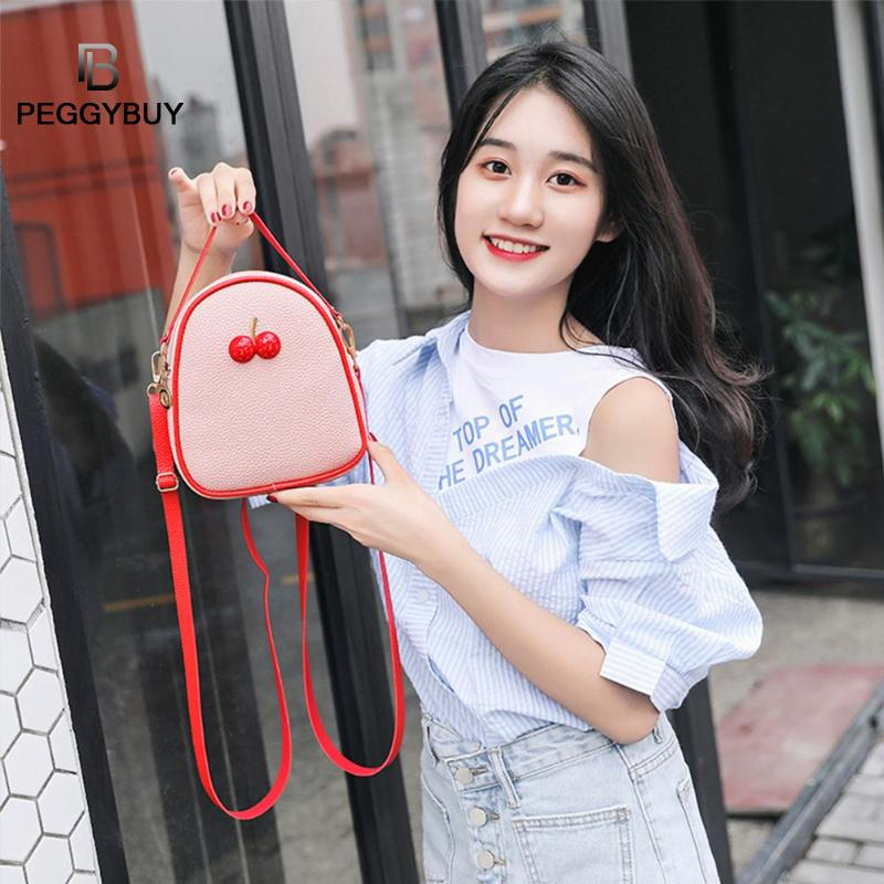 Women Backpack Litchi Pattern Cherry Decor Travel Backpacks PU Leather Women Shoulder Bags Leather Backpacks For Teenage Girls