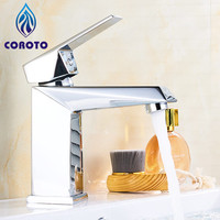 COROTO Modern Basin Faucets Water Saver Chrome Bathroom Fixture Toilet Water Basin Waterfall Mixer Faucet Waterfall Taps
