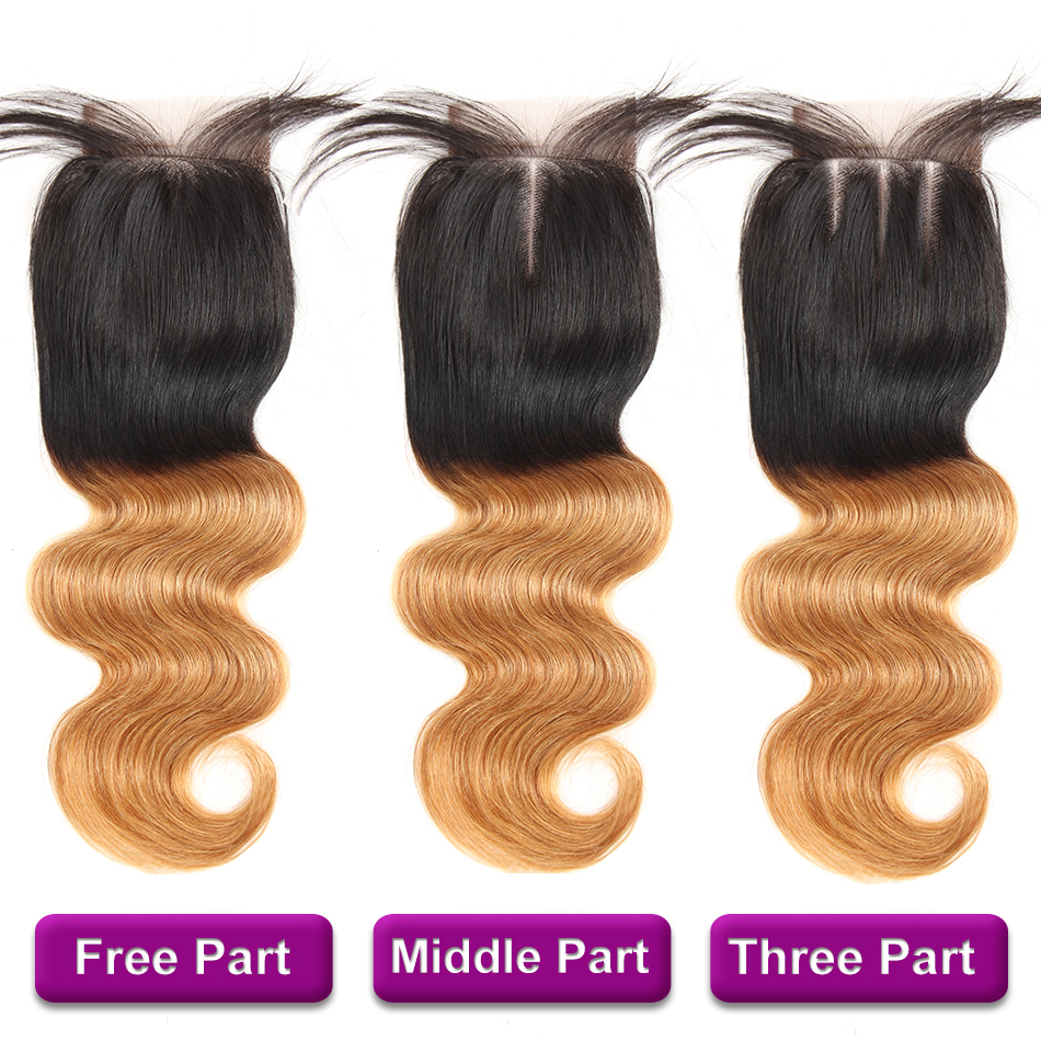 Racily Hair T1B/27 Ombre Brazilian Body Wave Lace Closure Human Hair 4x4 Lace Closure With Baby Hair Blonde Swiss Lace Closure