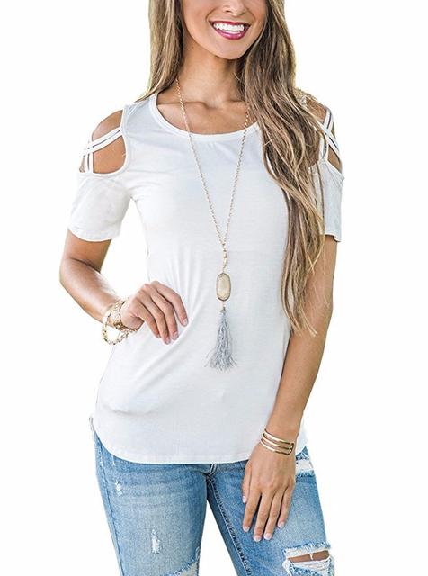 Fashion Round Collar Short Sleeved Off Shoulder Summer T-Shirt