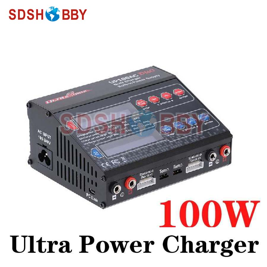 Ultra Power UP100AC DUO Dual Balance Charger 100W 10A Charge 5A Discharge 1-6S NiMH/LiPo Battery Charger Twin-Channel Charger skyrc d100 2 100w ac dc dual balance charger 10a charge 5a discharge nimh lipo battery charger twin channel charge