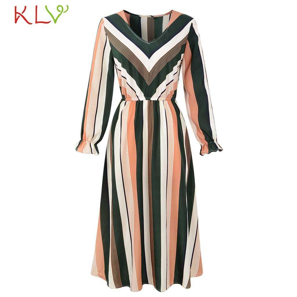 6d46f9b4b4 Dress Women Long Sleeve Winter Chiffon Stripe Black Dress Elegant Big Size  For Evening Party Night Robe Femme Hiver 2018 18Nov29