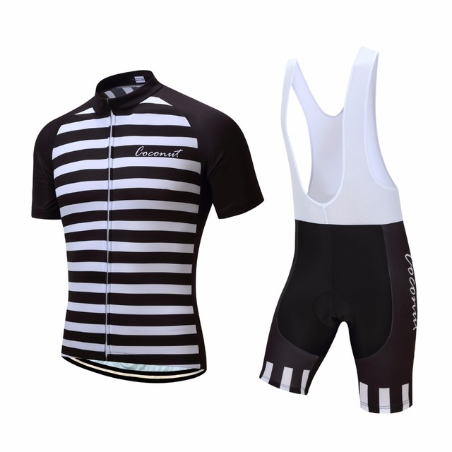 bfc9e2af4 Coconut Ropamo Men s Bike Wear Short Sleeve Striped Quick Dry Pro Game MTB  Bicycle Cycling Jersey Set Maillot Ropa Ciclismo