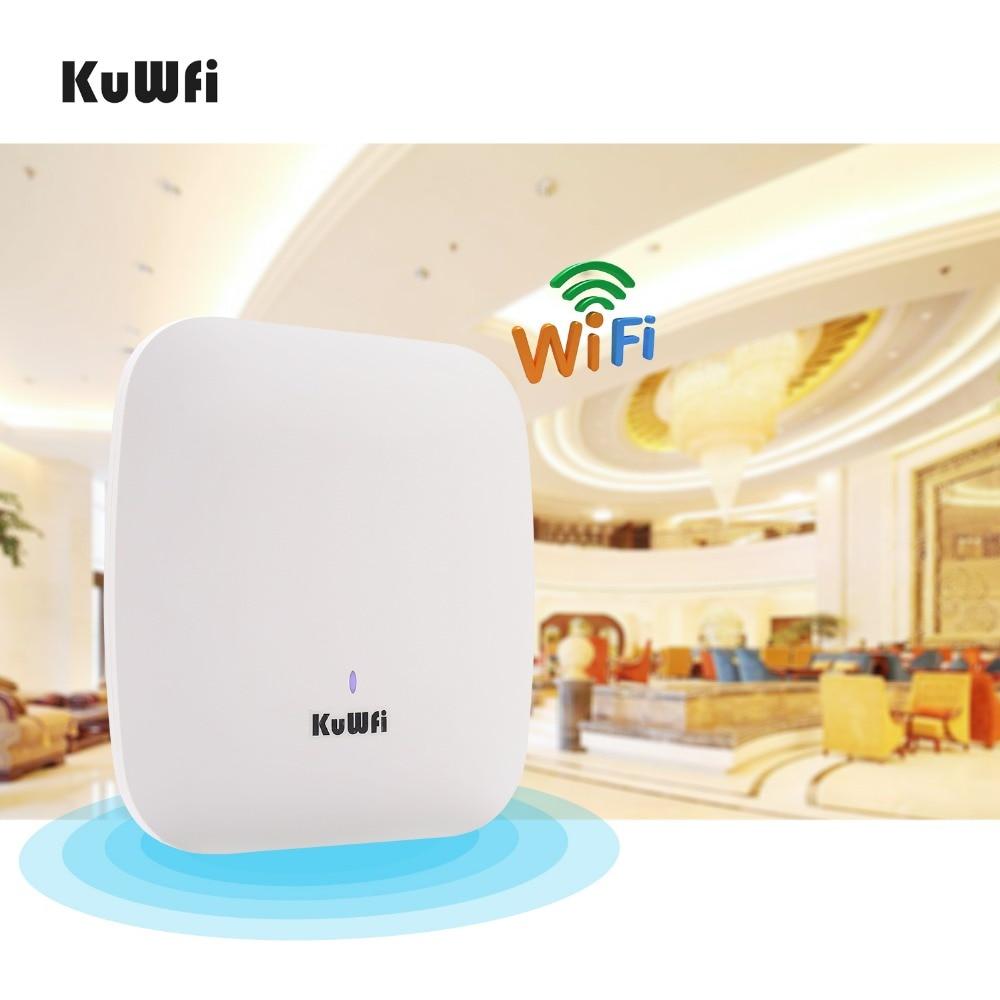 KuWFi 1200 Mbps Wifi routeur intérieur sans fil plafond Points d'accès sans fil AP géré plafond-monter jusqu'à 32 utilisateurs avec 48 V POE