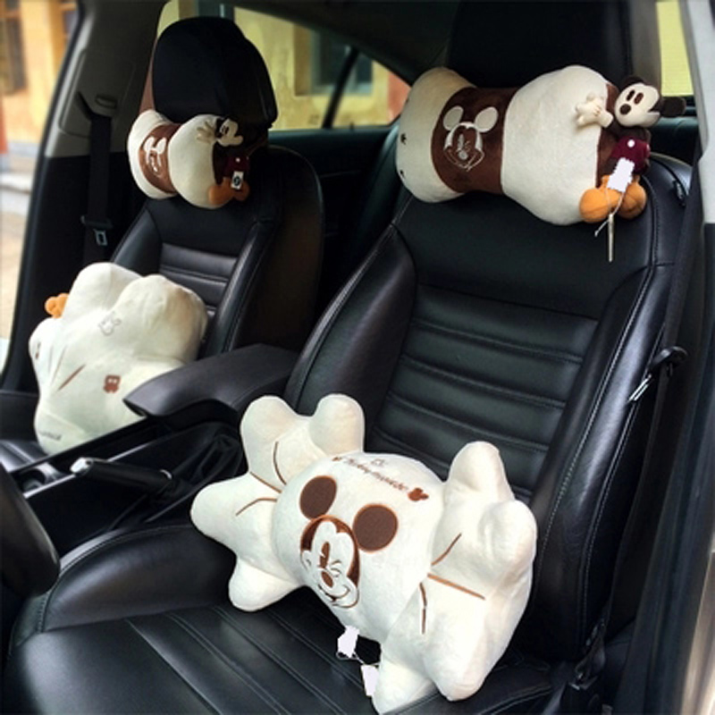 Mickey Car Interior Accessories Short Plush Car Headrest Neck Pillow White Auto Waist Support Seat Lumbar Accessories