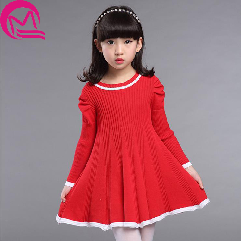 Girls Winter Dress 2017 Fashion Autumn Princess Girl Long Sleeve Knitted Sweater TuTu Dress Kids Christmas Dresses For Girls girls dress winter 2016 new children clothing girls long sleeved dress 2 piece knitted dress kids tutu dress for girls costumes