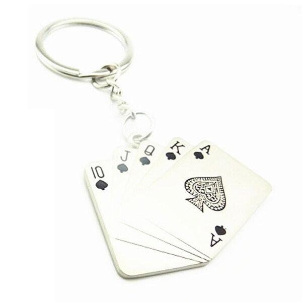 Metal Poker Card Pendant Keyring Key Chain Silver Tone
