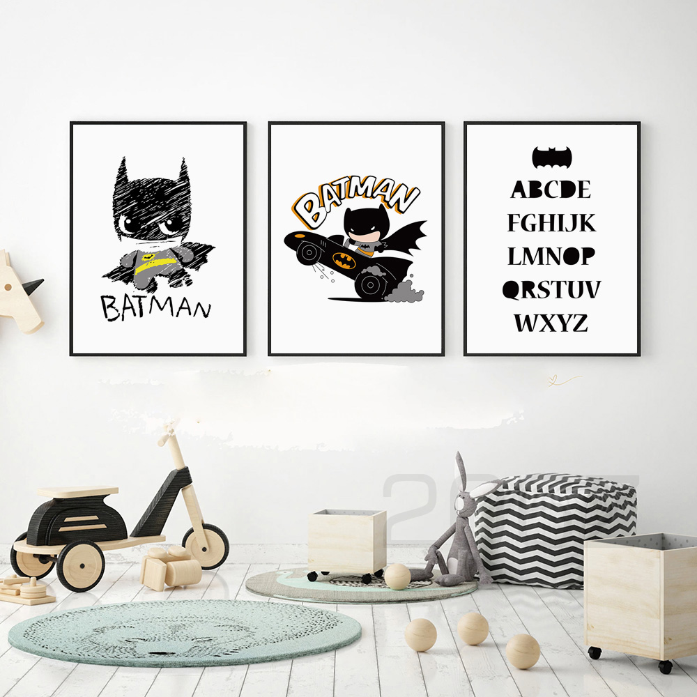 Cartoon Superhero Batman DC Comics Poster Wall Art Canvas Painting Nordic Posters And Prints Wall Pictures Baby Kids Room Decor