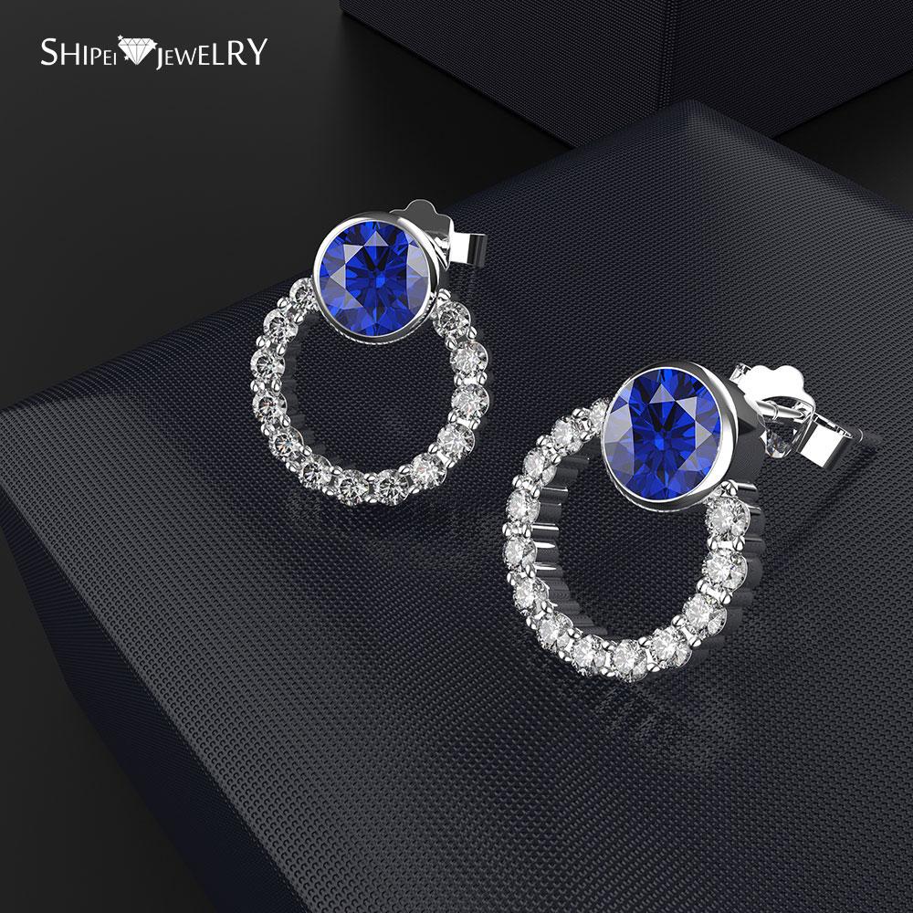 Shipei marque de bijoux de mode bleu clair rond zircone boucles d'oreilles en or blanc rempli de boucles d'oreilles de fête de mariage pour les femmes filles