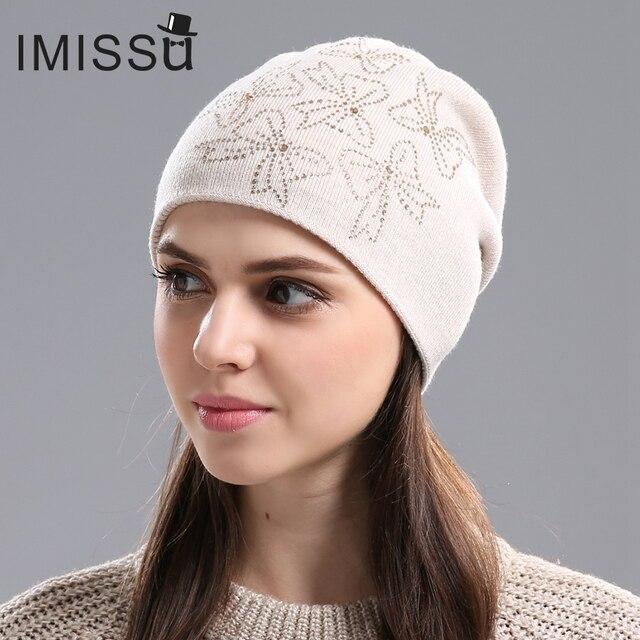 IMISSU женщин Зимние Шапки Вязаные Настоящее Шерсти Шапочка Повседневная Hat с Кристально Лук Твердые Цвета Горнолыжные Gorros Крышка Casquette для женщины