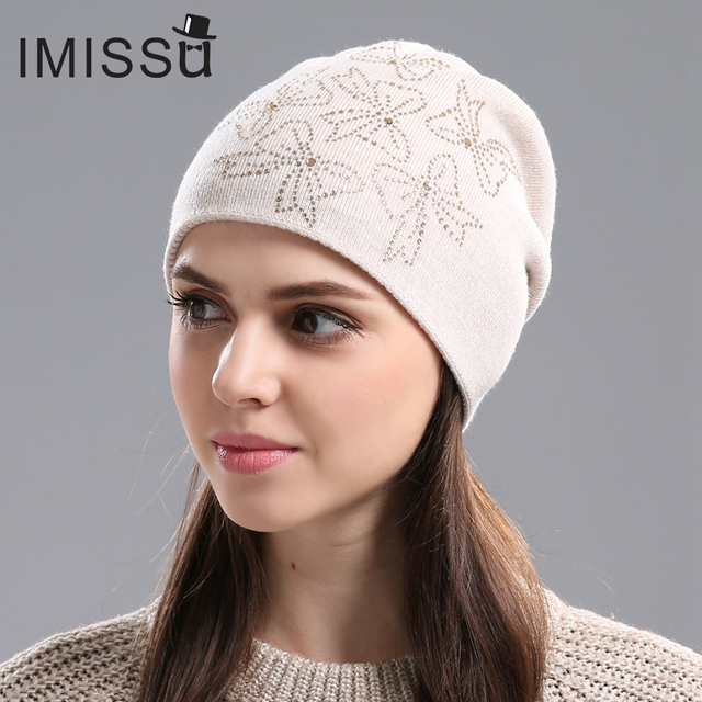 IMISSU Women's Winter Hats Knitted Real Wool Beanie Casual Hat with Crystal Bow Solid Colors Ski Gorros Cap Casquette for Women