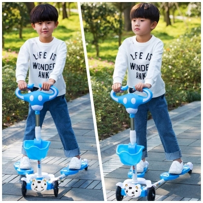 Bicicleta Scooter Flash Wheel Children Outdoor Toys Tricycle Kid Bike Car Slide Ride On Toy with LED Light flash Adjustable high kid child 4 in 1 trike tricycle 3 wheel car indoor outdoor bicycle ride for 0 6years old