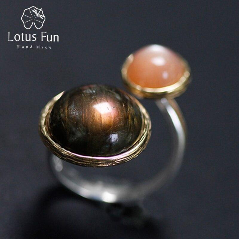 Lotus Plaisir Réel 925 Sterling Argent Naturel Labradorite Clair De Lune Pierre À La Main Fine Bijoux Mystérieux lac Anneaux pour les Femmes