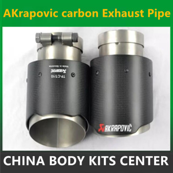 2PCS 76mm Inlet 114mm Outlet Akrapovic exhaust tip Universal Carbon Fiber Car Exhaust Pipe Tail Muffler Tip bmw f30 akrapovic auspuffblende