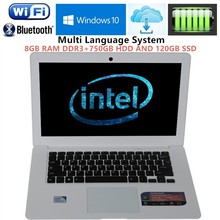 14.1inch win7/8 laptops Computer PC Intel Celeron J1900 2.0GHZ Quad Core 8GB DDR3 750G+120GB SSD WIFI HDMI WEBCAM Slim Ultrabook