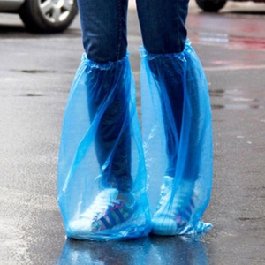 New New 1Pair Durable Plastic Disposable Rain Shoe Covers Waterproof Thick High-Top Boot Rain Shoe Covers Blue Color
