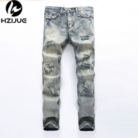 Mens Overalls Jeans Light Blue Brand Vintage Designer Casual Hole Ripped Jeans Mens Fashion Denim Pants