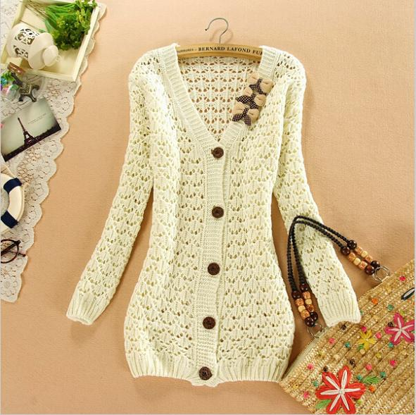 Korean Pure Color Bow V Neck Long Sleeved Hollow Pattern Cardigan