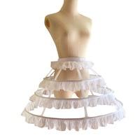 Crinoline Petticoat White 4 Hoops A Line Gothic Lolita Ball Gown Petticoat Underskirt Wedding Corset Skirt Sexy Gothic Skirts