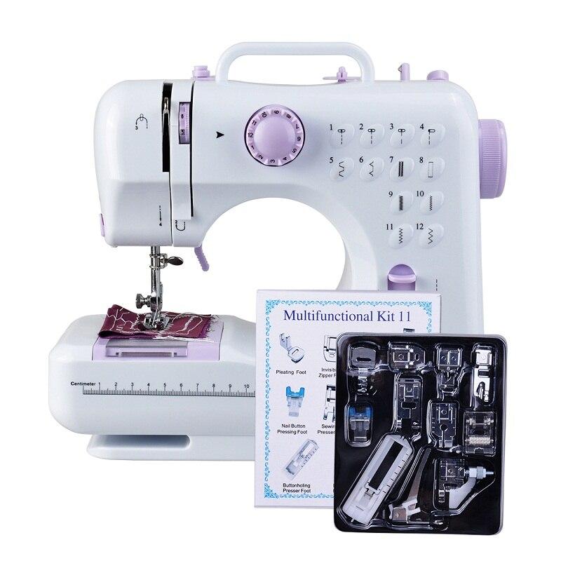 2019 Mini Machine à coudre multifonction 505A 12 points remplaçables + 11 pc pied-de-biche LED d'alimentation classes de couture légères
