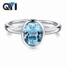 QYI moda 2 ct Oval Sky Blue Topaz yüzük taş parti güzel takı kadınlar 925 ayar gümüş topaz nişan tektaş yüzük