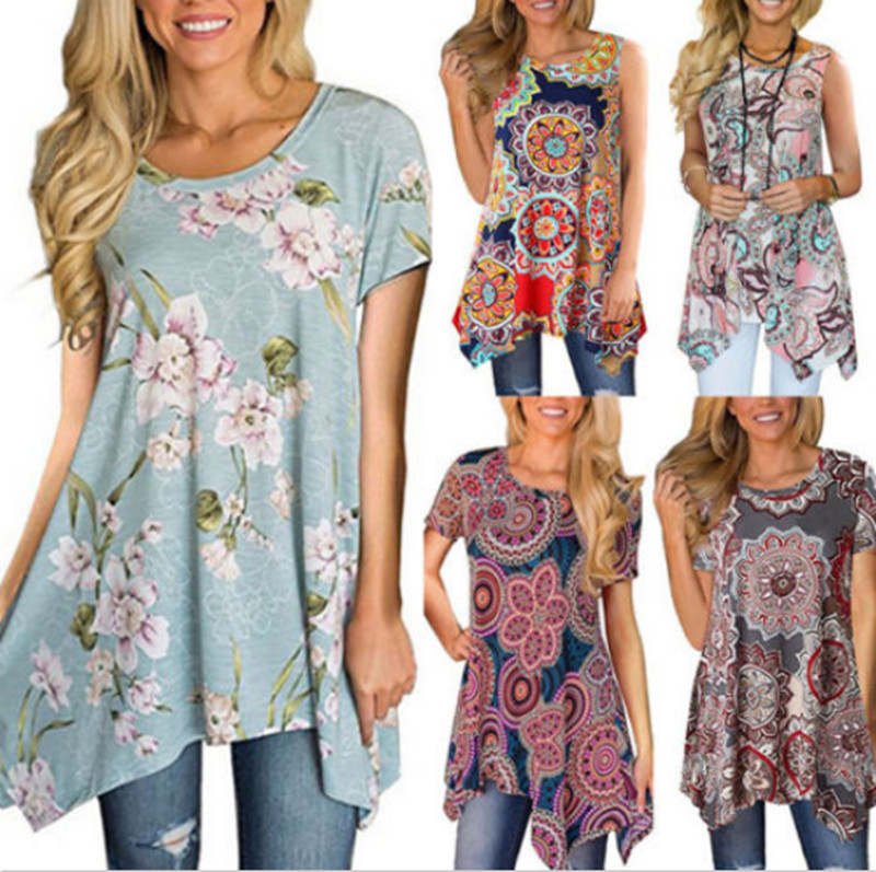 2018 Women Tops And   Blouses   Short Sleeve Floral Printed Loose   Blouse     Shirt   Tunic Tops Plus Size Boho   Shirt   Tops Clothing